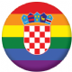 Croatia Gay Pride Flag 25mm Flat Back